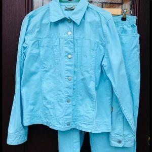 Jean Jacket Jeans Matching Set Aqua Turquoise Blue